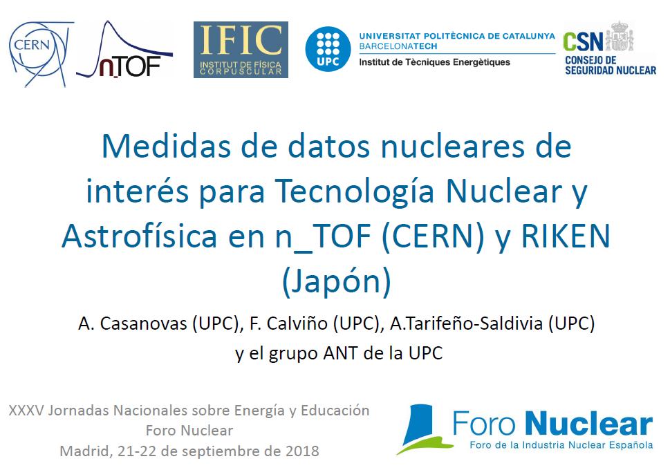 Medidas de datos nucleares de interés para Tecnología Nuclear