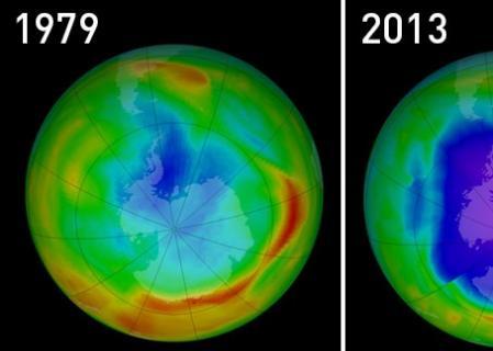Evolución de la capa de ozono entre 1979 y 2013