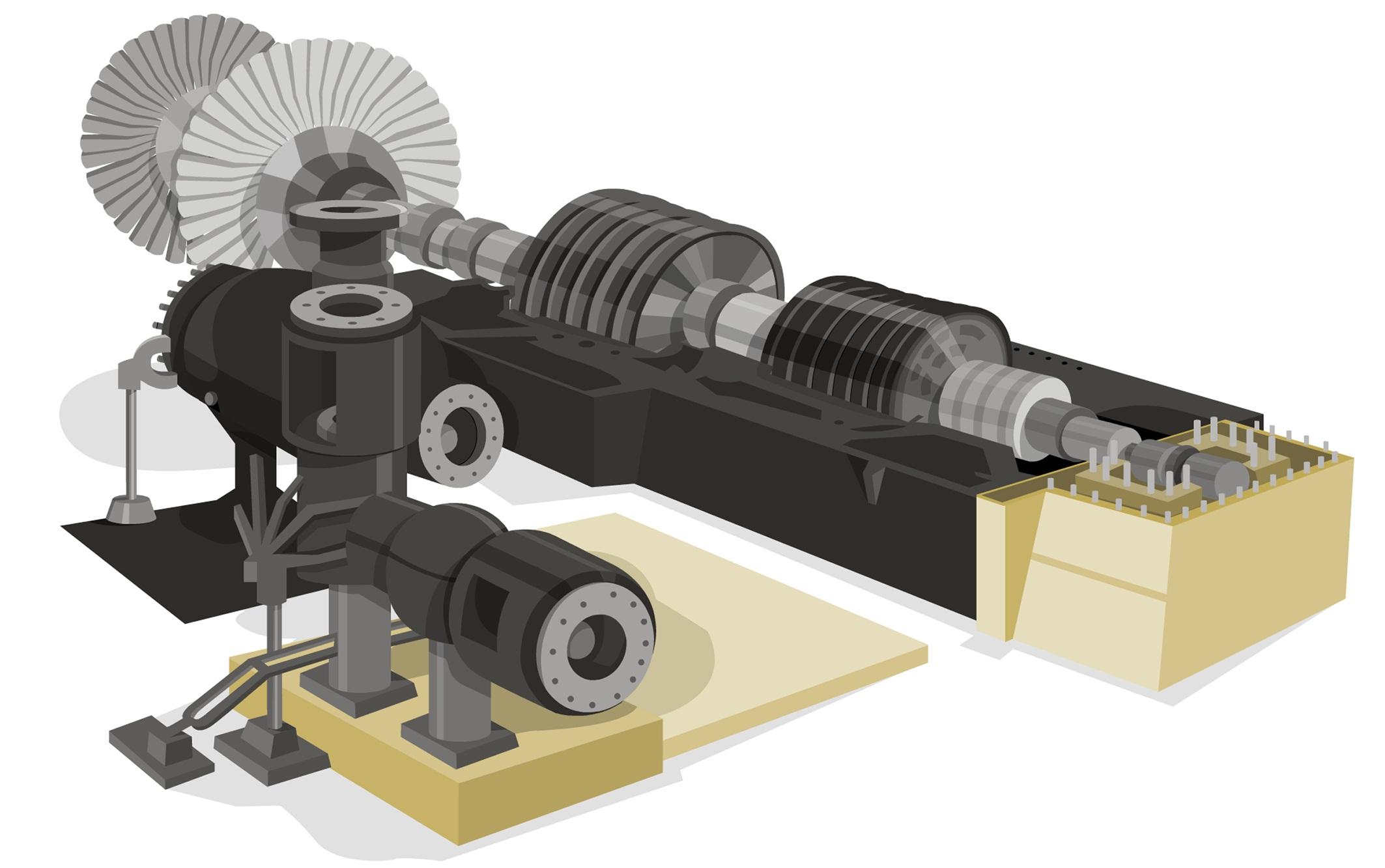Ilustración de una turbina de vapor