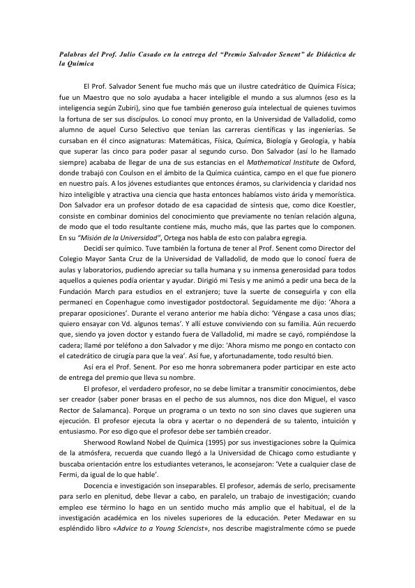 """Entrega del """"Premio Salvador Senent"""" de Didáctica de la Química"""