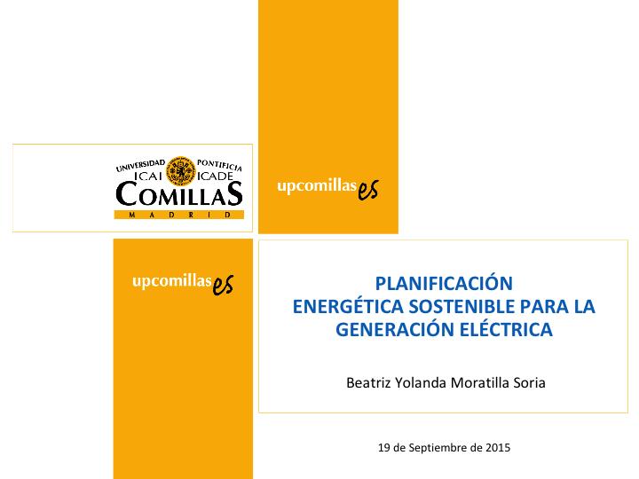 Planificación energética sostenible para la generación eléctrica